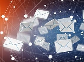 16105 3d rendering flying email icon web flying